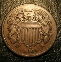 OLD US COINS 1864 CIVIL WAR TWO CENT PIECE  PATINA