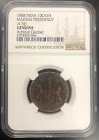 ADMIRAL GARDNER SHIPWRECK COIN NGC SHIPWRECKS   1808 EAST INDIA CO. 10CASH