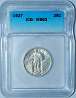 1927 ICG MINT STATE 62 STANDING LIBERTY QUARTER 25C REALLY CLOSE IF NOT ACTUALLY A FH