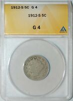 1912 S ANACS G4 LIBERTY V NICKEL