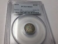 1870 SEATED LIBERTY HALF DIME SILVER H10C MINT STATE 64 PCGS BEAUTIFUL TONING