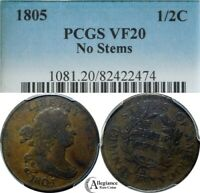 1805 1/2C DRAPED BUST HALF CENT PCGS VF20 NO STEMS  OLD TYPE COIN