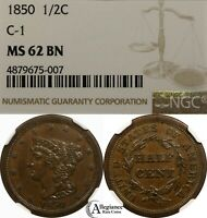 1850 1/2C BRAIDED HAIR HALF CENT NGC MINT STATE 62 KEY DATE  OLD TYPE COIN COPPER
