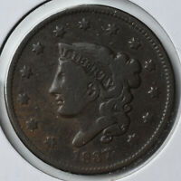 1837 1C YOUNG HEAD BRAIDED HAIR LARGE CENT TYPE COIN COPPER CIRCULATED