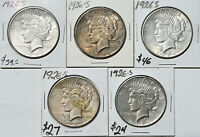 1926-S $1 PEACE SILVER DOLLAR SAN FRANCISCO MINT 5 COIN LOT CIRCULATED TO AU