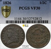 1826 1/2C CLASSIC HEAD HALF CENT PCGS VF30  OLD TYPE COIN