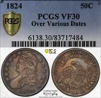 1824/2/0 50C CAPPED BUST HALF DOLLAR PCGS VF30 OVER VARIOUS DATES  OLD COIN