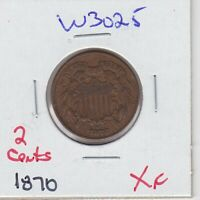 KAPPYSWHOLESALE  W3025 1870  EF EXTRA FINE  2 TWO CENT PIECE BETTER DATE EXTRA FINE
