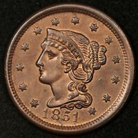 1851 BRAIDED HAIR LARGE CENT UNCIRCULATED DETAILS