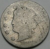 1890 5C LIBERTY NICKEL, LIBERTY HEAD V NICKEL, FIVE CENTS, 12979
