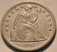 1843 SEATED LIBERTY ONE DOLLAR HIGHER GRADE DETAILS SILVER $