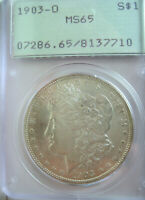 1903-O MORGAN DOLLAR PCGS MINT STATE 65 RATTLER HOLDERBETTER DATE IN  OLD HOLDER