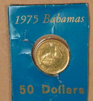 1975 BAHAMAS $50.00 GOLD ORIGINAL PACKAGE & PURCHASE INVOICE