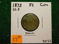 1873   CL.3   STAIN  SHIELD NICKEL