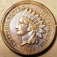 UNCIRCULATED DETAILS 1861 INDIAN HEAD CENT PENNY SO  THIS NI