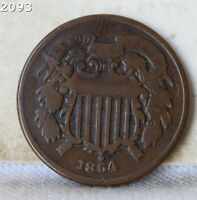 1864 TWO CENT PIECE  FREE S/H AFTER 1ST ITEM