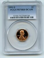 1991 S 1C LINCOLN CENT PROOF PCGS PR70DCAM