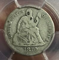1870-S. SEATED LIBERTY DIME , PCGS G6  DATE