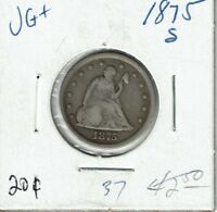 1875 S 20C SEATED LIBERTY SILVER TWENTY CENT PIECE VG  NICE LOOKING COIN