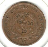 KAPPYSCOINS W3012 1864 CIVIL WAR TWO CENT PIECE COUNTER STAMPED 6 TIMES