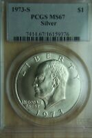 1973-S EISENHOWER IKE 40 SILVER DOLLAR - PCGS MINT STATE 67