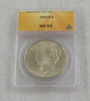 1923-D PEACE SILVER DOLLAR ANACS MINT STATE 64  BEAUTIFUL BETTER DATE & HIGHER GRADE
