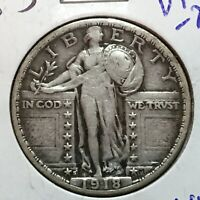 1918-S  VF-EXTRA FINE   STANDING LIBERTY QUARTER   SHARP DATE