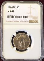 1924-D STANDING LIBERTY SILVER QUARTER NGC MINT STATE 64