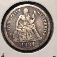 1891  SEATED LIBERTY DIME