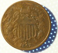 1867 US TWO CENT PIECE, LY CIRCULATED HISTORIC US COIN, ORIGINAL SURFACES