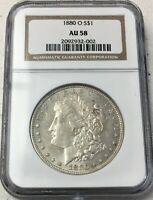 1880-O MORGAN SILVER DOLLAR NGC AU 58 - BETTER DATE
