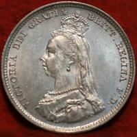 UNCIRCULATED 1887 GREAT BRITAIN SHILLING SILVER FOREIGN COIN