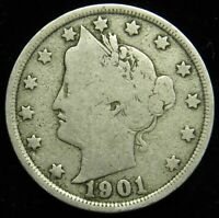 1901 LIBERTY BARBER V NICKEL G GOOD B03