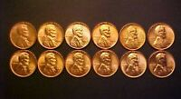 1953-1958-P&D SET GEM BU RED LINCOLN WHEAT CENTS-12 GREAT COLLECTOR COINSAA809