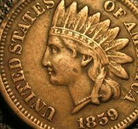 OLD US COINS 1859 INDIAN HEAD CIVIL WAR ERA PENNY 1C ONE CENT FIRST YEAR BEAUTY