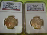 2007 JOHN ADAMS P&D NGC MINT STATE 65 FIRST DAY ISSUE CIRCULATION STRIKE 2-COIN DOLLAR SET