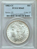 1882-CC MORGAN SILVER DOLLARPCGS MINT STATE 65 FROSTY SUPERB PREMIUM QUALITY GEM