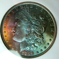 1886 RAINBOW TONED MORGAN SILVER DOLLARNGC MINT STATE 63 STAR CAC ENDORSED VIBRANT COLOR
