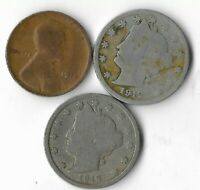 100 YEAR OLD 1912D&P LIBERTY NICKEL PENNY COLLECTION COIN ANTIQUE LOT:Q70