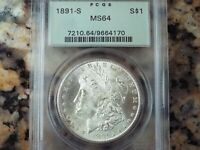 $450-490 VALUE  1891-S MORGAN SILVER DOLLAR, PCGS MINT STATE 64