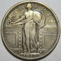 1917-D EXTRA FINE  STANDING QUARTER,  DETAILS, SHIPS FREE TYPE 1 T1