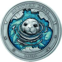 BARBADOS 2020 5$ UNDERWATER WORLD   SPOTTED SEAL 3OZ SILVER