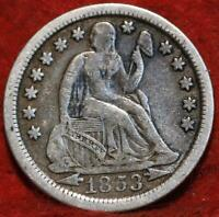 1853 O NEW ORLEANS MINT SILVER SEATED LIBERTY DIME WITH ARRO