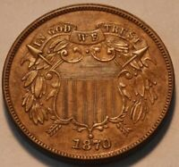 1870 TWO CENT PIECE HIGH GRADE BETTER DATE  TYPE COIN NICE LOOKING 2C