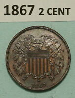 1867 2 CENT US COPPER COIN UN CIRCULATED BROWN /RED 2 938 75