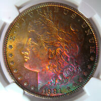 1881-O RAINBOW TONED MORGAN SILVER DOLLARNGC MINT STATE 64STAR BEAUTIFUL OBVERSE COLOR