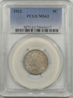 1912 LIBERTY NICKEL PCGS MINT STATE 63