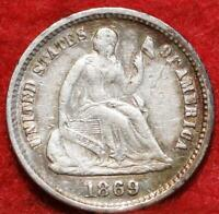 1869 S SAN FRANCISCO MINT SILVER SEATED LIBERTY HALF DIME
