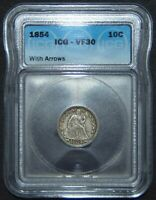 1854 SEATED LIBERTY SILVER DIME  ICG VF30
