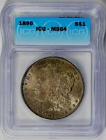 1890  MORGAN SILVER DOLLAR - ICG MINT STATE 64 - DARK TONED LUSTER ON BOTH SIDES
